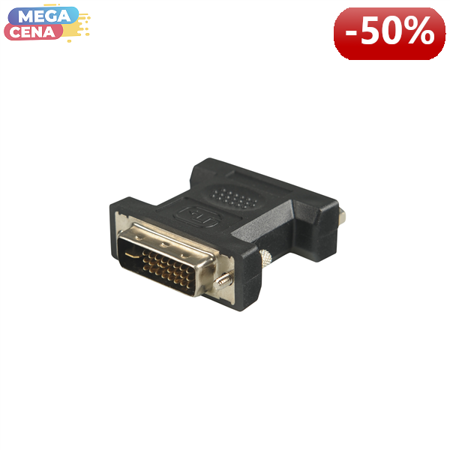 4World Adapter DVI- D [M]> DVI- D [F], czarny