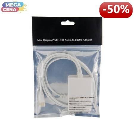 4World Adapter mini DisplayPort [M] + USB [M] > HDMI [F], 0.5m, biały