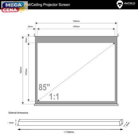 4World Elektryczny Ścienny/Sufitowy Ekran Projekcyjny z Przełącznikiem 152x152 (1:1) Matt White