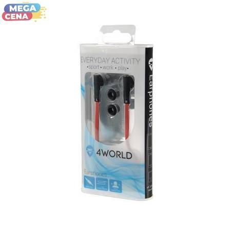 4World Słuchawki douszne DuoColor  jack 3.5mm 1.2m czerwony/czarny