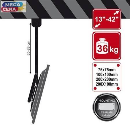 4World Uchwyt sufitowy LCD 13'' - 42'' udźwig 36kg uchylny 15st ruchomy góra/dół 55-83cm