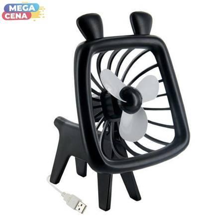 4World Wiatraczek USB Animal, nablatowy, cicha praca, czarny