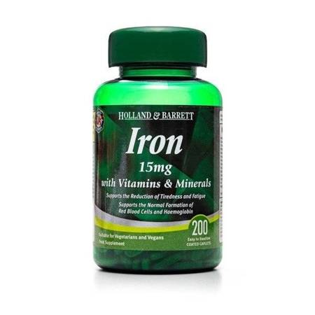Żelazo 15 mg z Witaminami i Minerałami 200 Kapletek