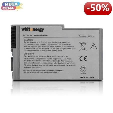 Whitenergy Bateria Dell Latitude D500 11,1V 4400mAh metaliczna szara