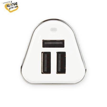 Whitenergy Ładowarka samochodowa, 3x USB, wyjście 5V/ 5.2A, blister, biała