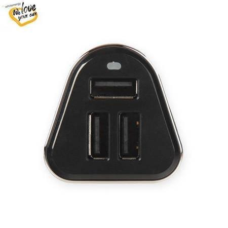 Whitenergy Ładowarka samochodowa, 3x USB, wyjście 5V/ 5.2A, blister, czarna