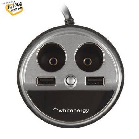 Whitenergy Ładowarka samochodowa kubek, 2x USB, 2x CS, wyświetlacz LCD, wyjście 5V/ 3.1A niebieski