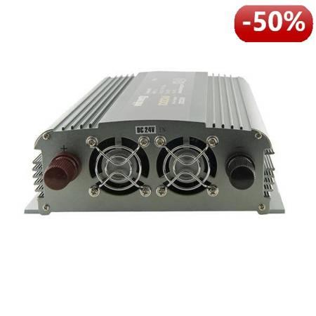 Whitenergy Przetwornica samochodowa 1000/2000W 24V(DC)- 230V(AC) 2 gniazda uniwersalne i port USB