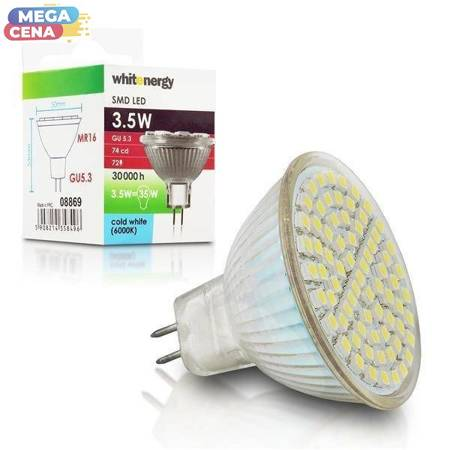 Whitenergy Żarówka LED 3.5W  GU5.3 MR16 SMD3528 zimna 230V Halogen / bez szybki