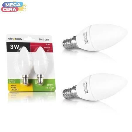 Whitenergy Żarówki LED, 2 szt., 3 LED, SMD 2835, C30, E14, 3W, 210 lm, 100V- 250V, mleczna bańka żarówki, kąt wiązki 160°