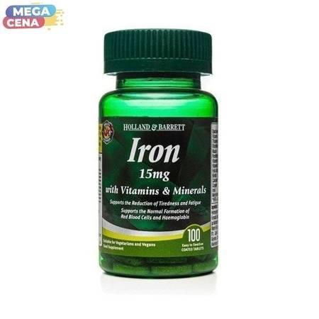 Żelazo 15 mg z Witaminami i Minerałami 100 Kapletek