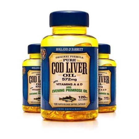 Zestaw 2+1 (Gratis) Olej z Wątroby Dorsza z Wiesiołkiem 500 mg 120 Kapsułek