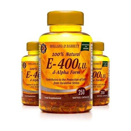 Zestaw 2+1 (Gratis) Witamina E 400 j.m. 250 Kapsułek Żelowych Produkt Wegański