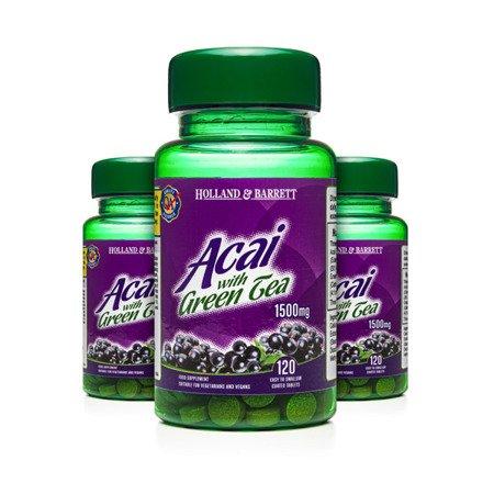 Zestaw Suplementów 2+1 (Gratis) Jagody Acai z Zieloną Herbatą 1500 mg 120 Tabletek