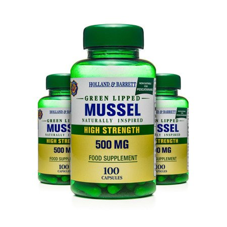 Zestaw Suplementów 2+1 (Gratis) Małża Zielona 500 mg dla Pescowegetarian 100 Kapsułek