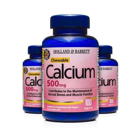 Zestaw Suplementów 2+1 (Gratis) Wapń 500 mg 100 Tabletek do Żucia