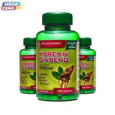 Zestaw Suplementów 2+1 (Gratis) Żeń-szeń Koreański 500 mg Produkt Wegański 100 Kapsułek