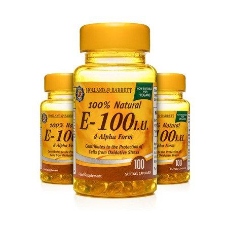 Zestaw Witamin 2+1 (Gratis) Witamina E 100 j.m. Produkt Wegański 100 Kapsułek Żelowych